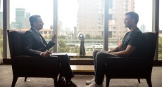 Kevin Negandhi (L) interviews Tom Brady about his adventures overseas.