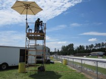 The camera tower that is home to the camera that follows IHRA cars as they run down the dragstrip. (Andy Hall/ESPN)