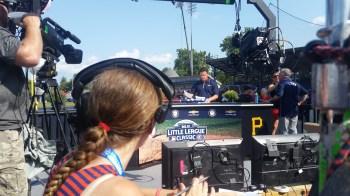 ESPN baseball researcher Sarah Langs observes as Karl Ravech reports. (Michael Skarka/ESPN)