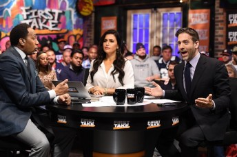 (L-R at desk) Stephen A. Smith, Molly Qerim and Max Kellerman discuss matters on the set of First Take at the 2017 Super Bowl. (Ben Solomon/ ESPN Images)