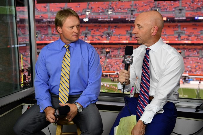 Jon Gruden (L) and Sean McDonough will call the Cowboys-Cardinals MNF game tonight from Arizona. (Phil Ellsworth/ESPN Images)