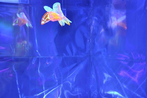 """Marcello Zagaria, studio Scenes, """"In un battito d'ali""""   dettaglio installazione ambiuentale con audio, 700Kg di sale, riso, film lenticolare,luci wood. Contemporary Lighting Context 2011"""