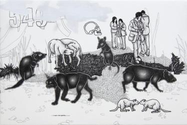 """Dario Molinaro, """"I Can't Find Anyone"""", 2011, tecnica mista su carta intelaiata, cm 22x33x3,5. Courtesy Riva Arte Contemporanea, Lecce"""