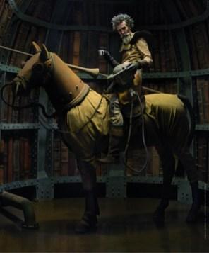 """Maggio - Eugenio Recuenco - Me, Don Quijote Cultura """"La storia che volevo raccontare era un incontro fra due culture – Spagnola e Italiana - servendomi di due leggende: Don Quijote e Lavazza. Una compenetrazione di storie e di Storia, di fantasia e realtà, di surreale e reale. Sapete, quando sognate a occhi aperti come """"El ingenioso hidalgo"""", questi occhi dovete tenerli ben spalancati. Magari con un buon caffè"""" Location: Eric Dover Studio, Madrid Assistenti: Pedro Galan, Dani Torres, Camilo Germain   Stylist: Eugenio Recuenco Hair   Stylist & Make-up Artist: Lewis Amarante   Set design: Eric Dover   Postproduzione: Paz Otero, Focal Imagen"""
