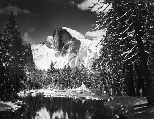 Half Dome, Merced River, Winter, Yosemite Valley, 1938 ca,© 2011 The Ansel Adams Publishing Rights Trust. Courtesy Fondazione Fotografia, Modena