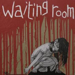 WAITING ROOM (PLEASE DO NOT DISTURB), Poster art - acrilico - smalto - carta da pacco su tela, 50x50, 2011