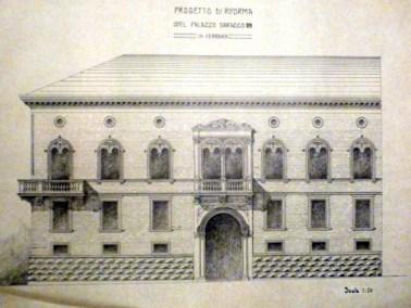A.Muggia, progetto di restauro di Palazzo Saracco, Ferrara, China su carta, Archivio Ordine degli Architetti di Bologna