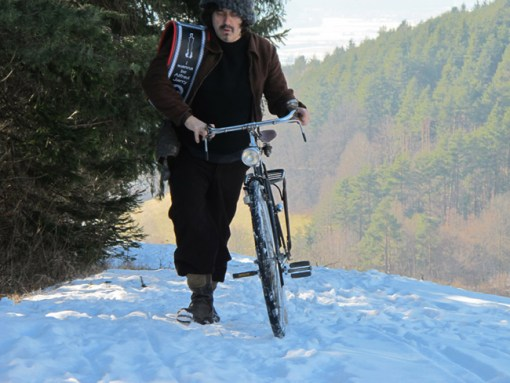 """Rainer Ganahl, """"The passion considered as an uphill bicycle race or I wanna be Alfred Jarry"""", 2011, photograph, cm 50x70. Courtesy Kooio, Innsbruck, Alex Zachary, New York and the artist"""