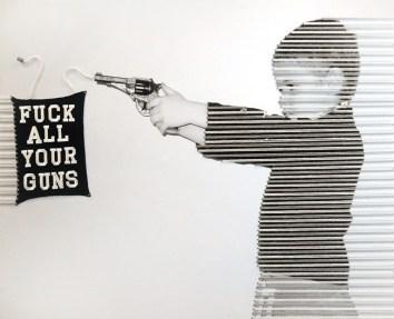 """Marco Querin, """"Fuck all your guns"""", 2010, Tecnica mista su stampa fotografica, 120x60 - courtesy Studiò di Giovanna Simonetta, Milano - vincitore premio """"The Glocal Rookie of the Year"""" 2010. © ArnoPertl"""