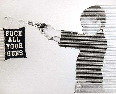 "Marco Querin, ""Fuck all your guns"", 2010, Tecnica mista su stampa fotografica, 120x60 - courtesy Studiò di Giovanna Simonetta, Milano - vincitore premio ""The Glocal Rookie of the Year"" 2010. © ArnoPertl"