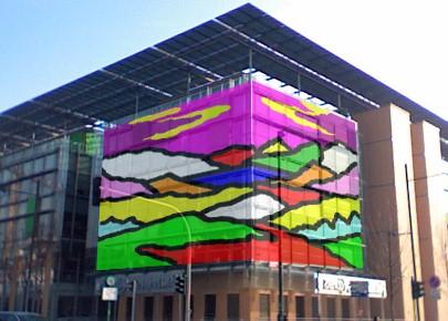 Intervento dello street artist BROS sulla facciata esterna di PricewaterhouseCoopers