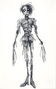 Tim Burton, Sans titre (Edward aux mains d'argent). 1990. Encre et crayon sur papier, 36.2 x 22.9 cm. Collection privée © 2011 Tim Burton