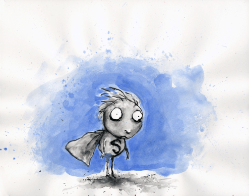 Tim Burton, Sans titre (La Triste Fin du petit enfant huître et autres histoires) 1998. Crayon, encre, et aquarelle sur papier, 27.9 x 35.6 cm. Collection privée © 2011 Tim Burton