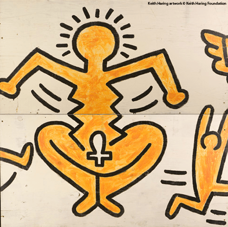Murale della Marquette University Milwaukee, Wisconsin, 1983 Fronte, uno dei pannelli Keith Haring artwork © Keith Haring Foundation