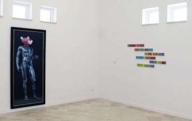 """Veduta della mostra """"La festa dell'arte"""" nella nuova sede della Fondazione Museo Pino Pascali"""