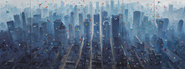 Fang Lijun 2006-2012, 2006-2012 olio su tela/oil on canvas, cm 400×1050. Foto: Paolo Robino