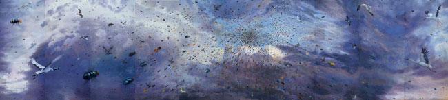 Fang Lijun 2005-2007, 2007 olio su tela/oil on canvas, cm 400×1750. Foto: Paolo Robino