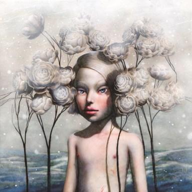 Jana Brike, Little milkman, 2012, Oil and mixed on canvas, cm 50x50