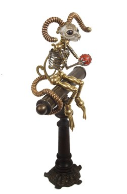 Jessica Joslin, Wolfgang, 2012, Antique brass hardware and findings, silver, wood, cast plastic, glove leather, glass eyes, cm 38x15x15
