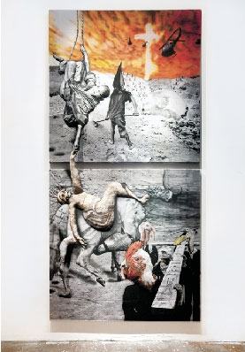 Gerardo Paoletti, Umido fango riempie le loro anime, aeropenna acrilica su cotone cucito in estroflessione - cm 150x300 - 2012 - Antico Frantoio di Quiesa