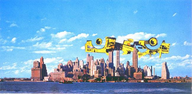 Hans Hollein, Transformation New York, Superstructure over Manhattan, 1962, fotomontaggio