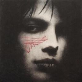Omar_Galliani_Nuovi Fiori nuovi santi_ 2012_matita nera su tavola più pastelli_cm 180x180