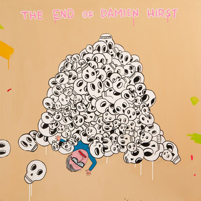 LAURINA PAPERINA, The end of Damien Hirst, 2012, mixed media on canvas, cm 100x100, Courtesy Studio d'Arte Raffaelli