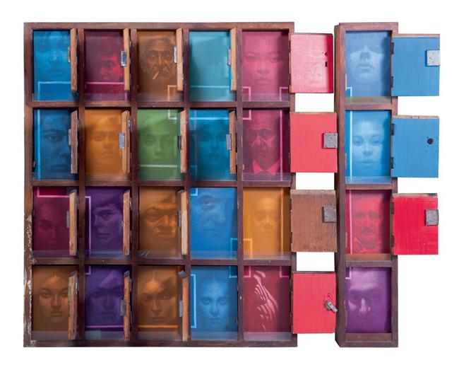 SASA MARJANOVIC, facebook, 2012, wood, mixed media, cm 120x140x11, Courtesy Genius Art International