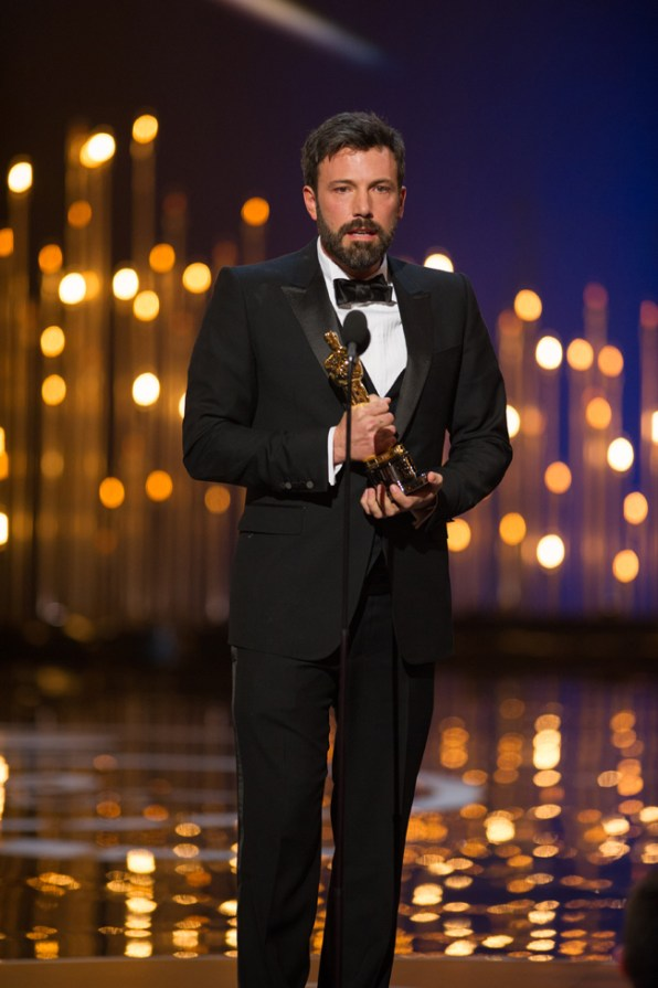 "Ben Affleck accepts the Oscar® in the category Best motion picture of the year for ""Argo"" during The Oscars® live on the ABC Television broadcast from the Dolby® Theatre in Hollywood, CA, Sunday, February 24, 2013. credit: Michael Yada / ©A.M.P.A.S."