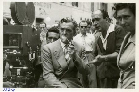 Vittorio De Sica sul set di Ladri di Biciclette
