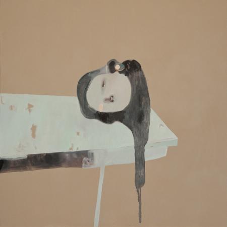 G.Castelli, 2013, Giuditta, olio, acrilico e smalti su tela, cm 100x100