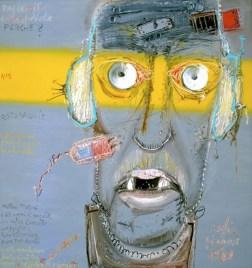"""Mattia Moreni, Autoritratto n.5 """"Mattia Moreni a 67 anni di sua età, con cuffia da ascolto con pustola bioelettronica e con tre denti"""", 1988, olio su tela, cm 200x190, Galleria d'Arte Contemporanea Vero Stoppioni, Santa Sofia (FC)"""