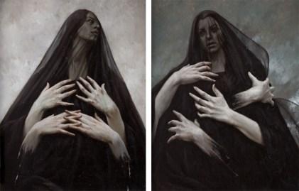 Giovanni Gasparro, Stabat mater dolorosa - Juxta crucem lacrimosa, olio su tela, dittico cm 90x140