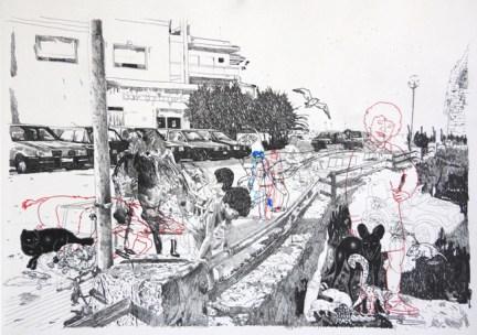 Dario Molinaro, Happy and thoughtless of thy day of doom!, 2012, tecnica mista su carta, 60x42cm, courtesy l'artista e Romberg Arte Contemporanea