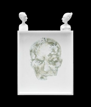 Diospyros Heads panel, 2012, enamel on wood, cm 56x37,5x05