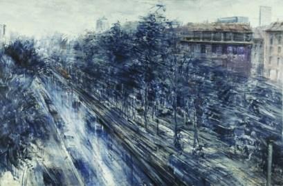 Alessandro Papetti, Dai bastioni di Porta Venezia, olio su tela, cm 165x205, 2005 - Galleria Forni