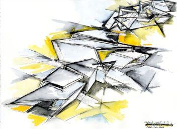 Daniel Libeskind, 18.36.54, 1, 2010, 30.5x40.6, acquarello e inchiostro su carta