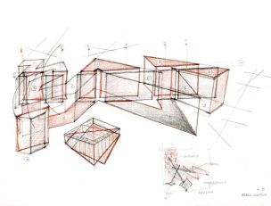 Daniel Libeskind, Jewish Museum Berlin, 1989, 30.5x24.1, pastelli e matita su carta
