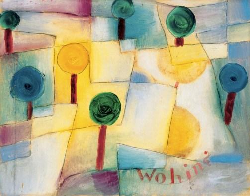 Paul Klee, Wohin? Junger Garten, 1920, olio su carta incollato su cartone, cm 23.5x29.5, Collezione Città di Locarno, donazione Charlotte Pierburg, 1977