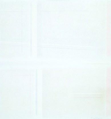 Riccardo Guarneri, Costruzione superficie-luce, 1964, tecnica mista a grafite su tela, cm 80x75