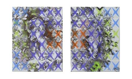 Vincenzo Marsiglia, Sensible Star, 2009/2010, acrilico su seta, cm 24x18 cad. (dittico)