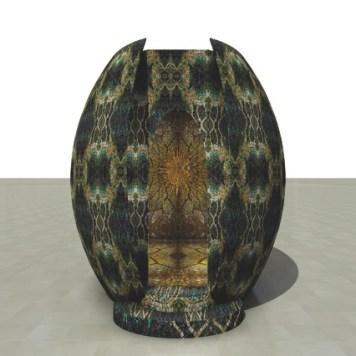 Marialuisa Tadei, Il Castello di Sole, installazione, tessuto, legno, mosaico con lama metallica oro, cm 280x430x280, Padiglione Venezia