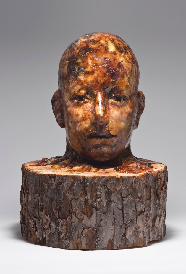 Aron Demetz, senza titolo, melo e resina di pino, cm 40