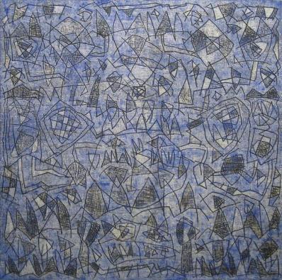 SERGI BARNILS, Visiò dels monticles de la Ciutat Santa, 2012, tecnica mista su tela, cm 130x130