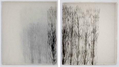 Asako Hishiki, Il respiro dell'Iki, 2012, xilografia su tessuto due elementi da cm 88x76 ciascuno