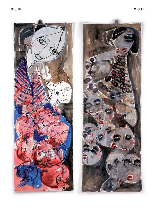 Antonio Marras e Danilo Bucchi, M+B10 e M+B11, 2013, mixed media on paper, cm 216x76x124 ciascuna