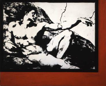 Tano Festa, Senza titolo, 1979, emulsione fotografica su tela applicata su tavola e smalto, cm 162x200 © Collezione Jacorossi, Roma
