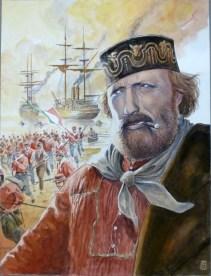 """Milo Manara, Garibaldi, originale per la mostra """"Giuseppe Garibaldi"""", 2007, tecnica mista su cartoncino, cm 46x61 Courtesy Little Nemo Art Gallery, Torino"""