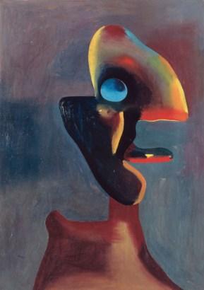 Joan Mirò, Testa d'uomo, 02/01/1935, olio e vernice su cartone incollato su un pannello di legno, 104.5x74.2 cm (AM 1991-303) © Centre Pompidou, MNAM-CCI / Jean-Claude Planchet / Dist. RMN-GP