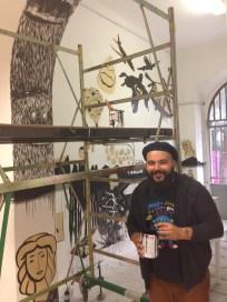 """Michael Rotondi, Sto* Disegnando!!!, dipinto murale, Accademia di Belle Arti """"Aldo Galli"""""""